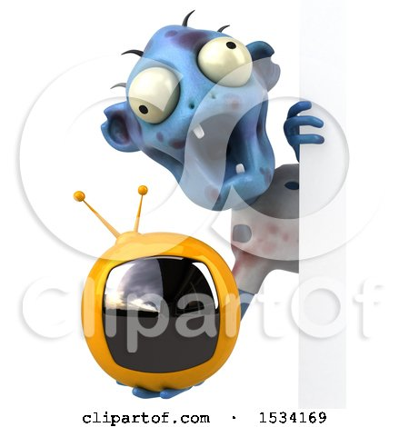 Clipart of a 3d Blue Zombie Holding a Tv, on a White Background - Royalty Free Illustration by Julos