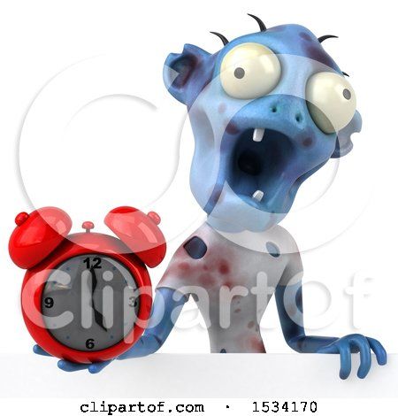 Clipart of a 3d Blue Zombie Holding an Alarm Clock, on a White Background - Royalty Free Illustration by Julos