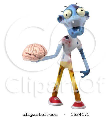 Clipart of a 3d Blue Zombie Holding a Brain, on a White Background - Royalty Free Illustration by Julos