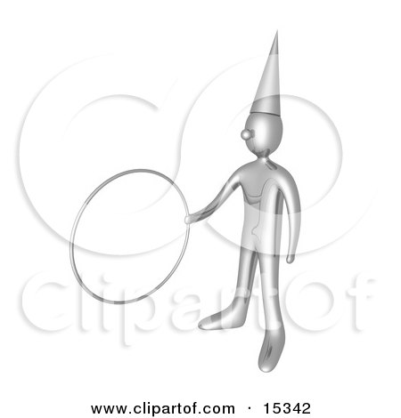 Silver Clown Wearing A Pointed Hat Holding Out A Hoop While Performing A Magic Trick At A Circus Birthday Party Or Carnival Clipart Illustration Image