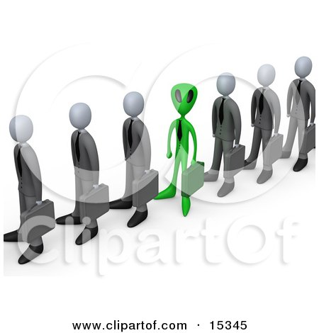 Green Alien Carrying A Briefcase And Standing In A Line Of Human Businessmen, Metaphor For Feeling Alienated Or Different  Posters, Art Prints
