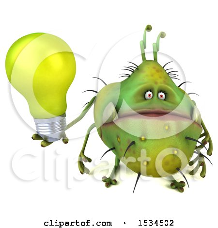 Clipart of a 3d Green Germ Monster Holding a Light Bulb, on a White Background - Royalty Free Illustration by Julos