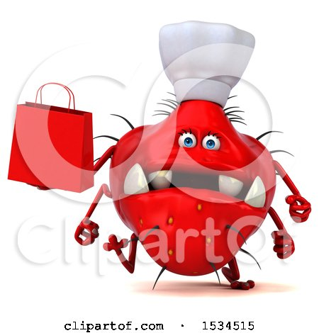 Clipart of a 3d Red Chef Germ Monster Holding a Shopping Bag, on a White Background - Royalty Free Illustration by Julos