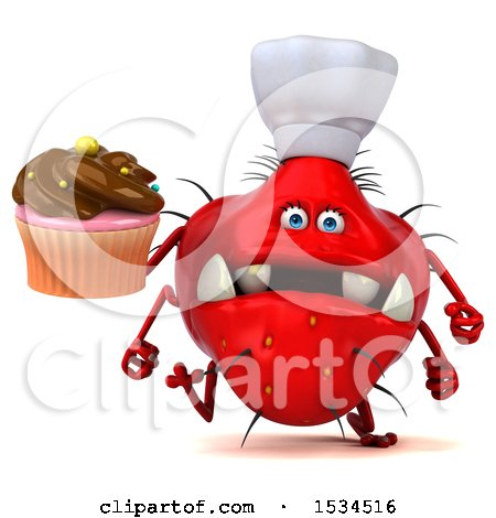 Clipart of a 3d Red Chef Germ Monster Holding a Cupcake, on a White Background - Royalty Free Illustration by Julos