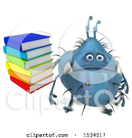 Clipart of a 3d Blue Germ Monster Holding Books, on a White Background - Royalty Free Illustration by Julos