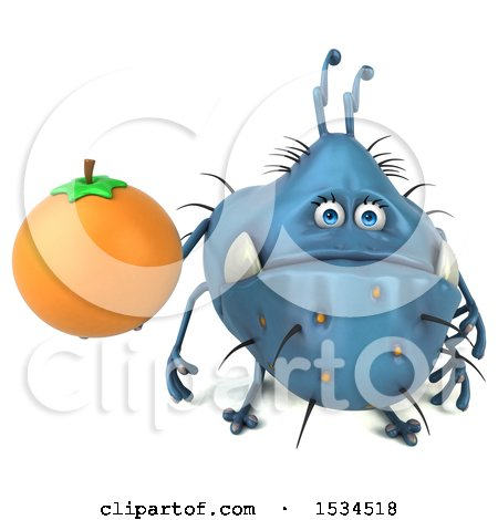 Clipart of a 3d Blue Germ Monster Holding an Orange, on a White Background - Royalty Free Illustration by Julos
