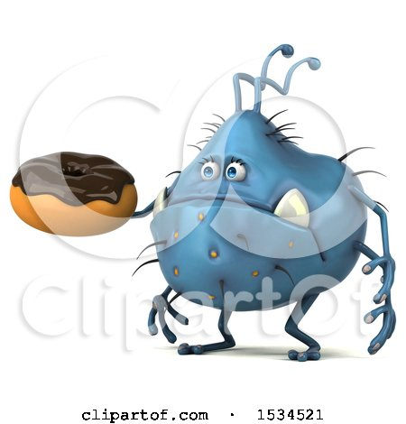 Clipart of a 3d Blue Germ Monster Holding a Donut, on a White Background - Royalty Free Illustration by Julos