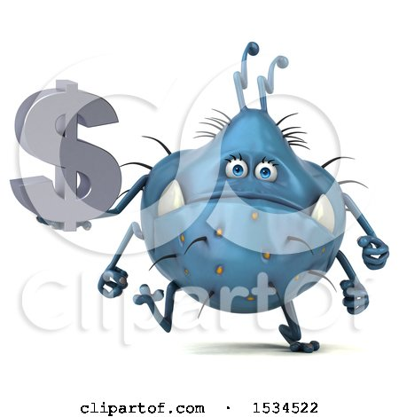 Clipart of a 3d Blue Germ Monster Holding a Dollar Sign, on a White Background - Royalty Free Illustration by Julos