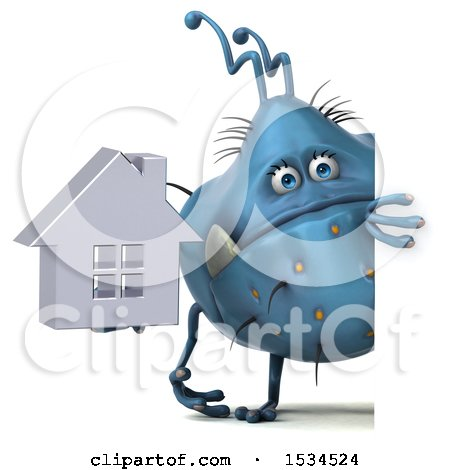 Clipart of a 3d Blue Germ Monster Holding a House, on a White Background - Royalty Free Illustration by Julos