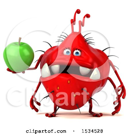 Clipart of a 3d Red Germ Monster Holding an Apple, on a White Background - Royalty Free Illustration by Julos