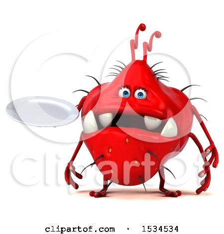 Clipart of a 3d Red Germ Monster Holding a Plate, on a White Background - Royalty Free Illustration by Julos