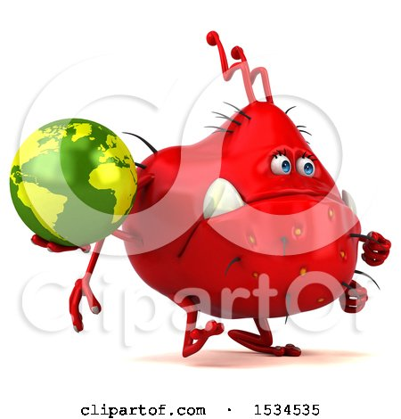 Clipart of a 3d Red Germ Monster Holding a Globe, on a White Background - Royalty Free Illustration by Julos