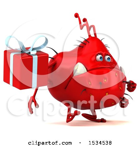 Clipart of a 3d Red Germ Monster Holding a Gift, on a White Background - Royalty Free Illustration by Julos