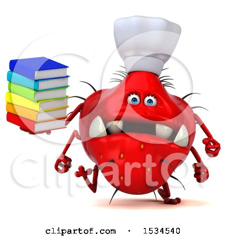 Clipart of a 3d Red Chef Germ Monster Holding Books, on a White Background - Royalty Free Illustration by Julos