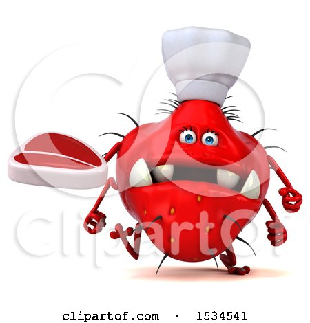 Clipart of a 3d Red Chef Germ Monster Holding a Steak, on a White Background - Royalty Free Illustration by Julos