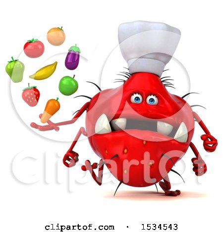 Clipart of a 3d Red Chef Germ Monster Holding Produce, on a White Background - Royalty Free Illustration by Julos