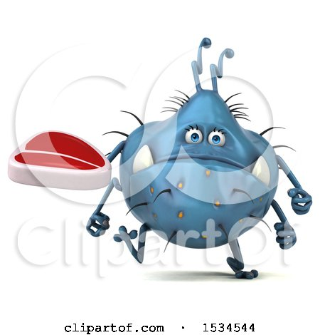 Clipart of a 3d Blue Germ Monster Holding a Steak, on a White Background - Royalty Free Illustration by Julos
