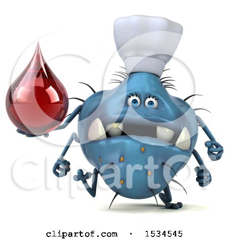 Clipart of a 3d Blue Chef Germ Monster Holding a Blood Drop, on a White Background - Royalty Free Illustration by Julos