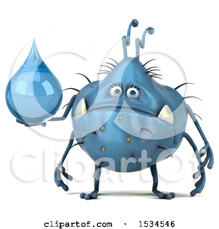 Clipart of a 3d Blue Germ Monster Holding a Water Drop, on a White Background - Royalty Free Illustration by Julos
