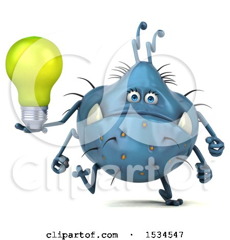 Clipart of a 3d Blue Germ Monster Holding a Light Bulb, on a White Background - Royalty Free Illustration by Julos