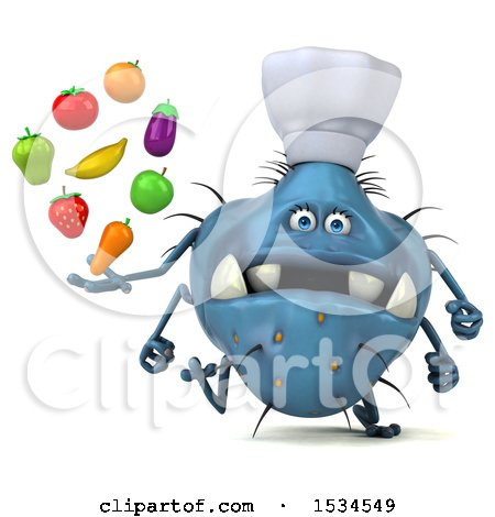 Clipart of a 3d Blue Chef Germ Monster Holding Produce, on a White Background - Royalty Free Illustration by Julos