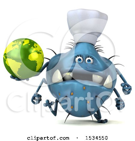 Clipart of a 3d Blue Chef Germ Monster Holding a Globe, on a White Background - Royalty Free Illustration by Julos