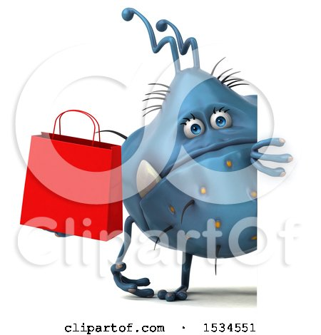 Clipart of a 3d Blue Germ Monster Holding a Shopping Bag, on a White Background - Royalty Free Illustration by Julos