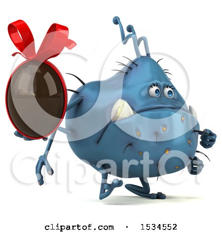 Clipart of a 3d Blue Germ Monster Holding a Chocolate Egg, on a White Background - Royalty Free Illustration by Julos
