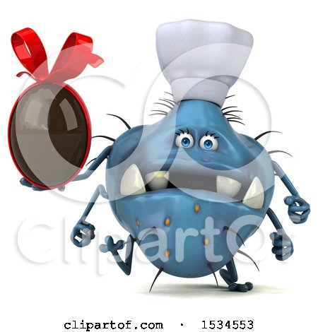 Clipart of a 3d Blue Chef Germ Monster Holding a Chocolate Egg, on a White Background - Royalty Free Illustration by Julos