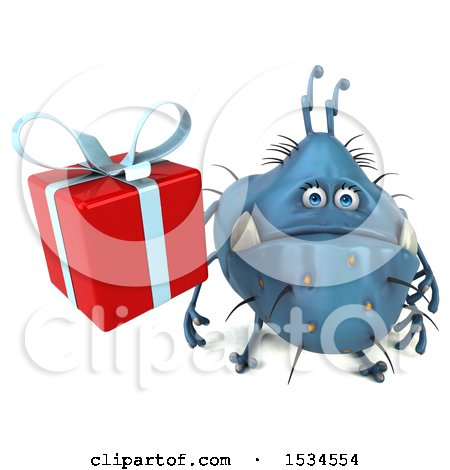 Clipart of a 3d Blue Germ Monster Holding a Gift, on a White Background - Royalty Free Illustration by Julos