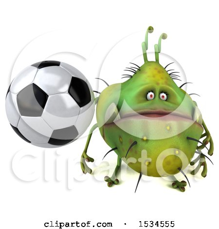 Clipart of a 3d Green Germ Monster Holding a Soccer Ball, on a White Background - Royalty Free Illustration by Julos