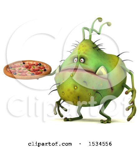 Clipart of a 3d Green Germ Monster Holding a Pizza, on a White Background - Royalty Free Illustration by Julos