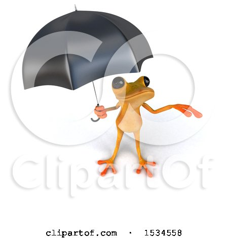 Clipart of a 3d Yellow Frog Holding an Umbrella, on a White Background - Royalty Free Illustration by Julos