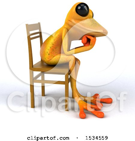 Clipart of a 3d Yellow Frog Thinking, on a White Background - Royalty Free Illustration by Julos