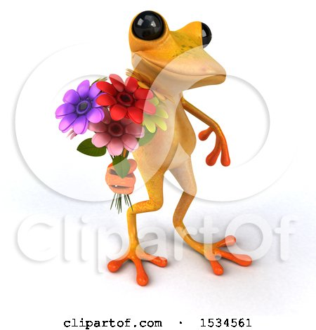 Clipart of a 3d Yellow Frog Holding Flowers, on a White Background - Royalty Free Illustration by Julos