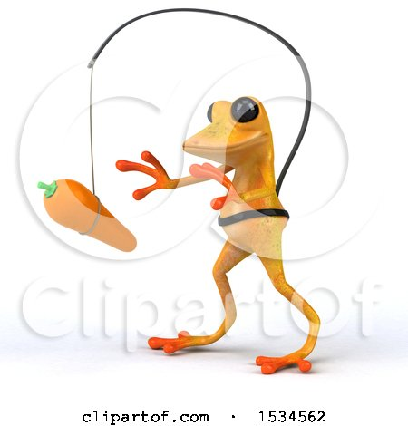 Clipart of a 3d Yellow Frog Chasing a Carrot, on a White Background - Royalty Free Illustration by Julos