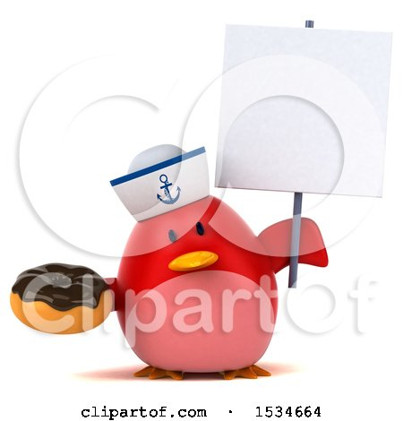 Clipart of a 3d Chubby Red Bird Sailor Holding a Donut, on a White Background - Royalty Free Illustration by Julos