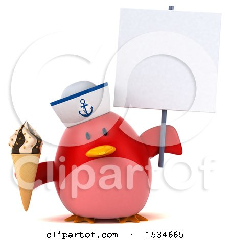 Clipart of a 3d Chubby Red Bird Sailor Holding a Waffle Cone, on a White Background - Royalty Free Illustration by Julos