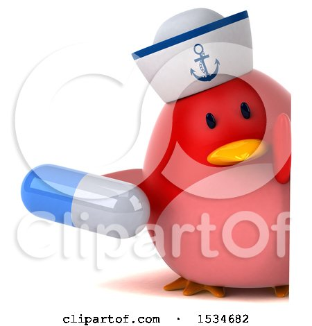 Clipart of a 3d Chubby Red Bird Sailor Holding a Pill, on a White Background - Royalty Free Illustration by Julos