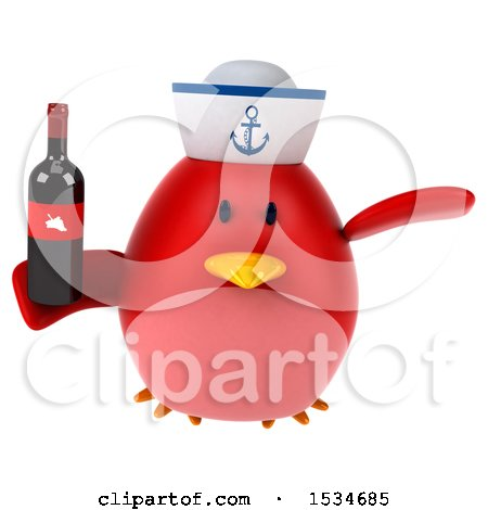 Clipart of a 3d Chubby Red Bird Sailor Holding Wine, on a White Background - Royalty Free Illustration by Julos