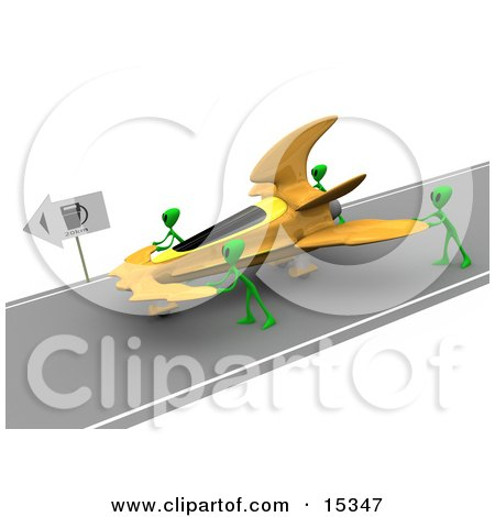 Three Green Aliens Pushing Their Yellow Ufo To A Gas Station After Running Out Of Gasoline Clipart Illustration Image