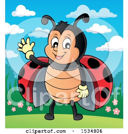 Clipart of a Ladybug Waving - Royalty Free Vector Illustration by visekart