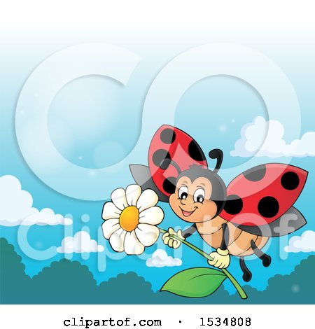 Clipart of a Ladybug Flying with a Flower - Royalty Free Vector Illustration by visekart