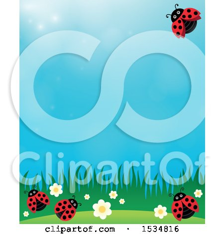Clipart of a Ladybug Spring Background - Royalty Free Vector Illustration by visekart