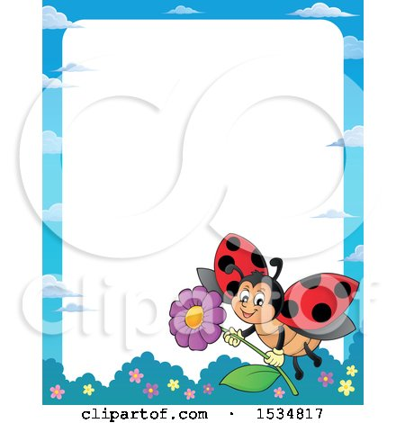 Clipart of a Border of a Ladybug Flying with a Flower - Royalty Free Vector Illustration by visekart
