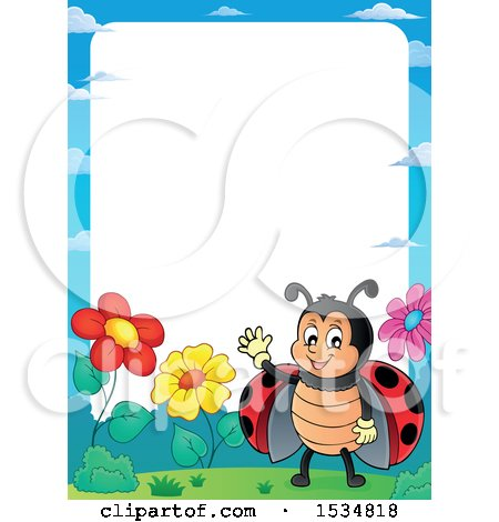 Clipart of a Border of a Waving Ladybug - Royalty Free Vector Illustration by visekart