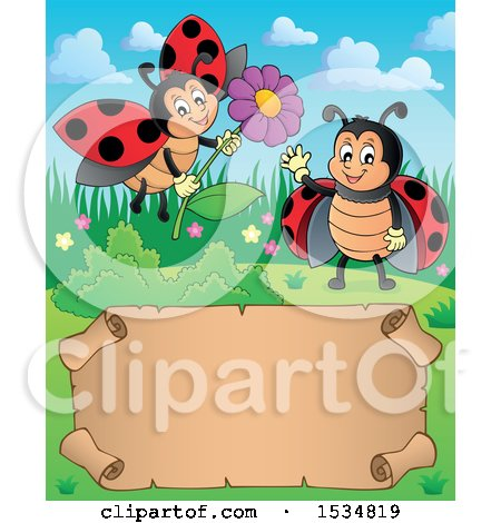 Clipart of a Parchment Scroll with Ladybugs Waving and Holding a Flower - Royalty Free Vector Illustration by visekart