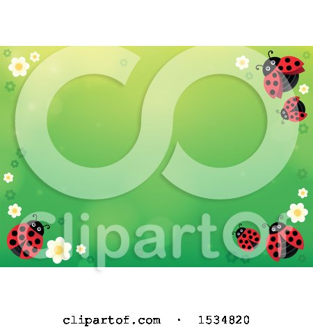 Clipart of a Gtrrn Ladybug Spring Time Background - Royalty Free Vector Illustration by visekart