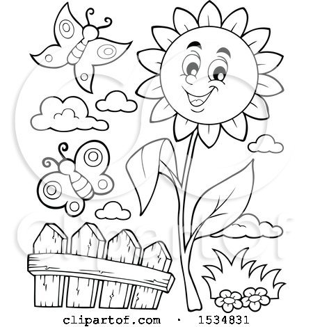 Clipart of a Black and White Sunflower Character and Butterflies - Royalty Free Vector Illustration by visekart