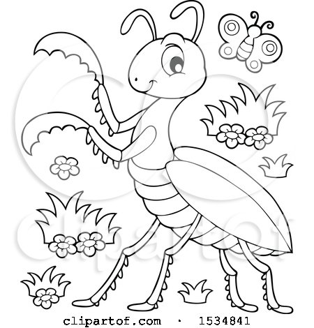 Clipart of a Black and White Butterfly and Praying Mantis - Royalty Free Vector Illustration by visekart